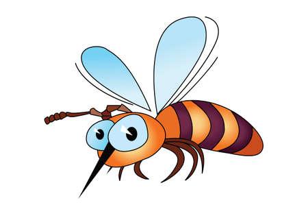 흰색 배경에 고립 된 만화 꿀벌의 그림 일러스트