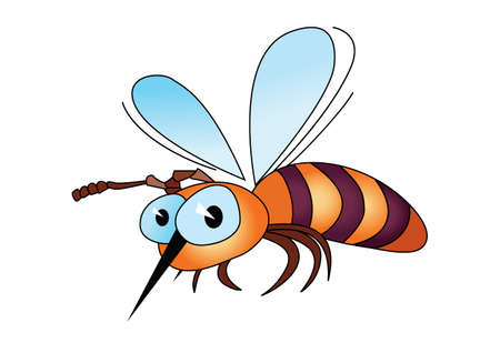 Illustration of isolated cartoon bee on white background