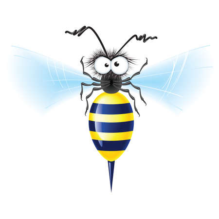 Cheerful bee. Vector illustration on white background Vector