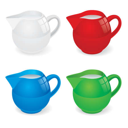 Vector Illustration set of jugs with milk on white Vector