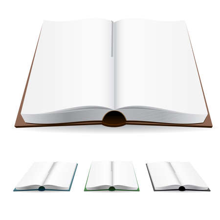 Open book with white pages. illustration on white.