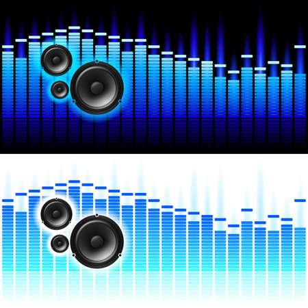 geluidsgolven: Geluidsgolven. illustratie op witte en zwarte achtergrond Stock Illustratie