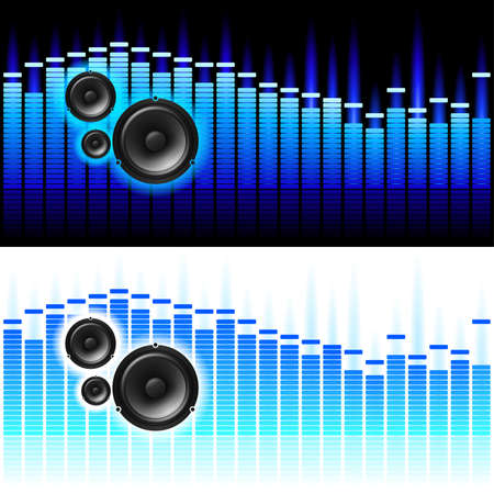 Sound Waves. illustration on white and black background Stock Vector - 8595992