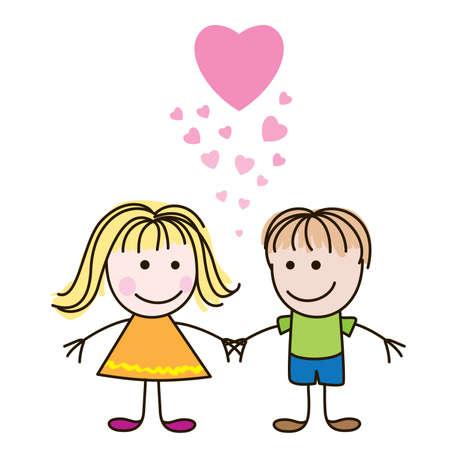 shapes cartoon: Ilustraci�n vectorial de coraz�n lindo d�a de San Valent�n con los ni�os y ni�as Vectores