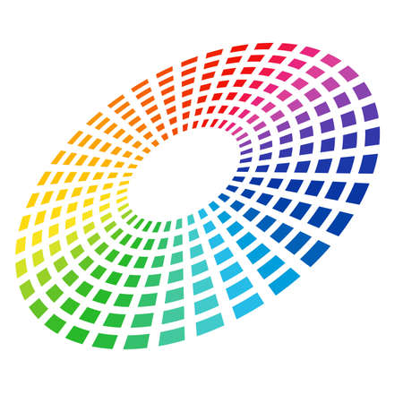 Colorful Graphic Equalizer. Circle in space. illustration on white.