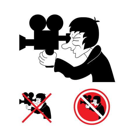 Cameraman. Ban. illustration on white background for design Vector