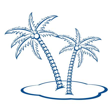 Silhouette Palm trees with coconuts #2. One-colour symbol on white. Stock Vector - 8711643