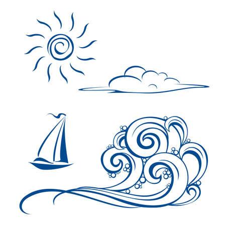viento: Olas de barco, nubes y sol. ilustraci�n en blanco Vectores