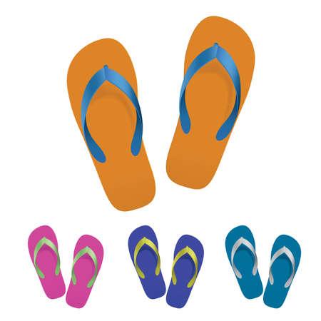 thongs: Flip flop set. illustration on white background