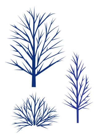 Trees Silhouette - winter trees. Vector illustration on white Vector