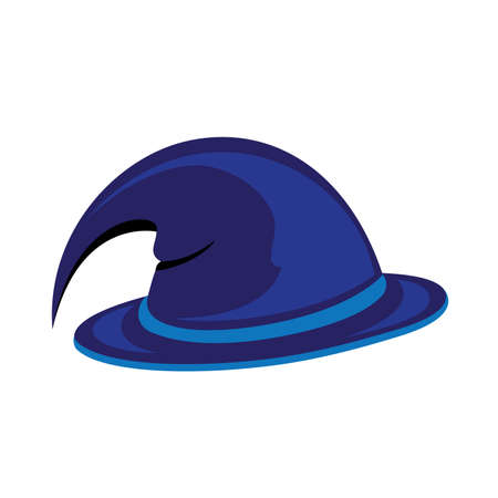 Blue witch hat. Vector illustration on white Vector