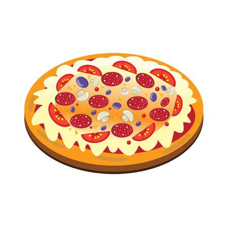 mozzarelle e formaggi: Appetitosa pizza isolata su sfondo bianco. Illustrazione vettoriale. Vettoriali