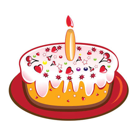 1 year anniversary: Birthday cake with one glowing candle. Vector illustration on white background