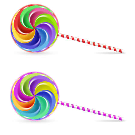 candy stick: Spiral rainbow lollipop - isolated on white background Illustration