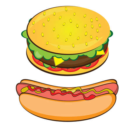 Appetizing Hotdog and Sandwich. Vector illustration on white background Vector