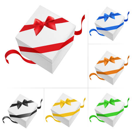 Vector illustration of 6 gift boxes with ribbon on white background Stock Vector - 8925219