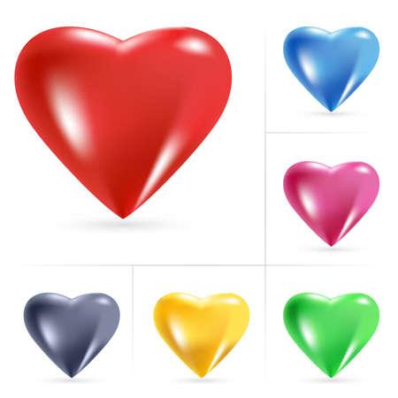 corazones azules: Iconos de coraz�n. Ilustraci�n vectorial sobre fondo blanco