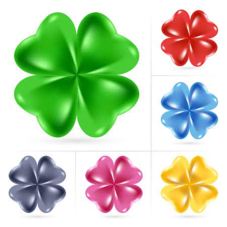 cuatro elementos: Conjunto de trébol irlandés para el día de San Patricio Vectores