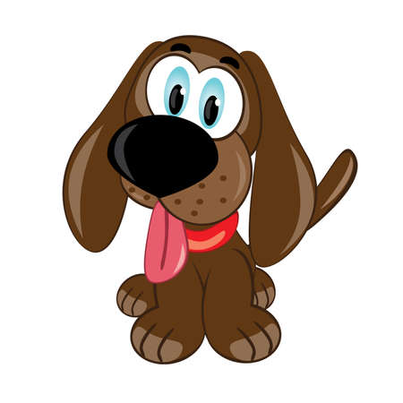 doggies: Cartoon puppy. Vector illustration on white background
