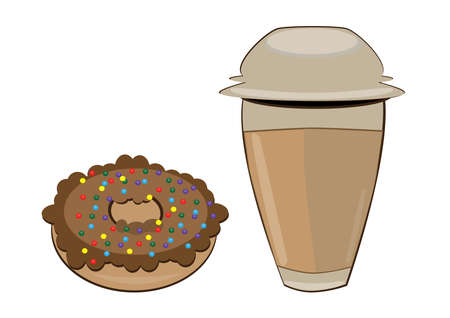 Coffee in a  cup and donut. Vector illustration on white background Vector