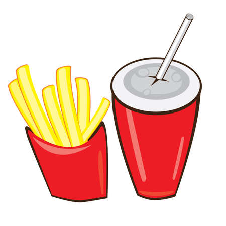 obesidad: Bebida y patatas fritas. Ilustraci�n vectorial sobre fondo blanco Vectores
