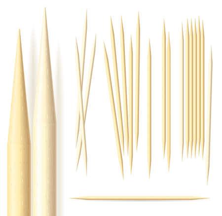 Illustrazione di stuzzicadenti su sfondo bianco