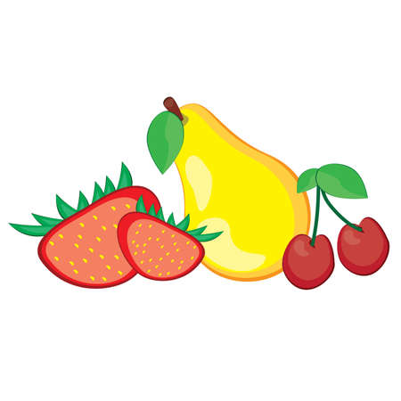 Illustration of healthy fresh fruit. Pear, strawberry, and cherry Vector