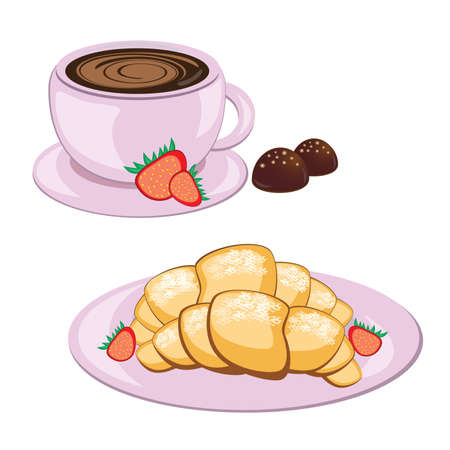 cup and saucer: Breakfast of coffee in round mug and croissant  Illustration