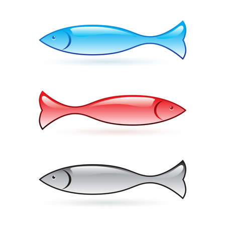 Abstract fish set. Vector illustration on white background Stock Vector - 8984608