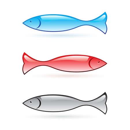 pez abstracto: Conjunto de peces abstracta. Ilustraci�n vectorial sobre fondo blanco