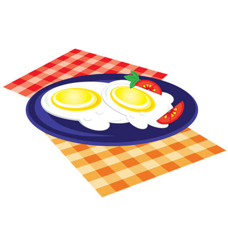 scrambled: Lunch is fried on a plate. Vector illustration on white