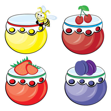 Set from jars with fruit and berry jam Vector