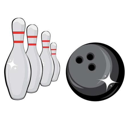 bowling strike: Skittles and black ball on white background, bowling Illustration