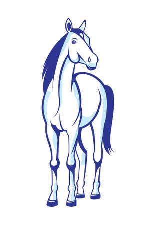 caballos negros: Caballo bonita ilustraci�n aislada sobre fondo blanco
