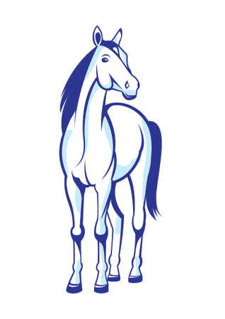 black and white line drawing: Illustration nice horse insulated on white background