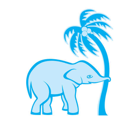 power giant: Elephant is pulling out the palm tree