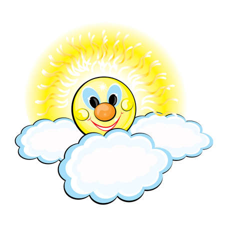 Sun and Clouds. Illustration on white background Vector
