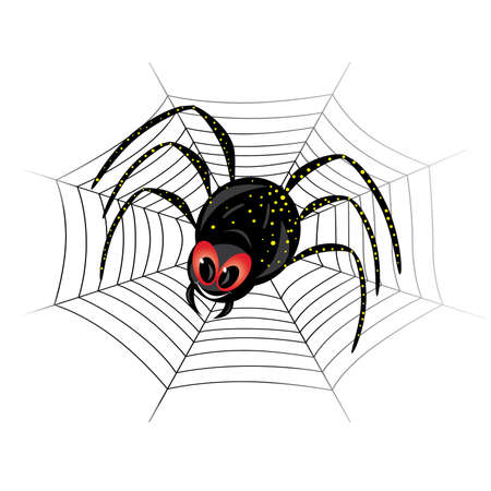 Illustration of cute black widow Spider on web Vector