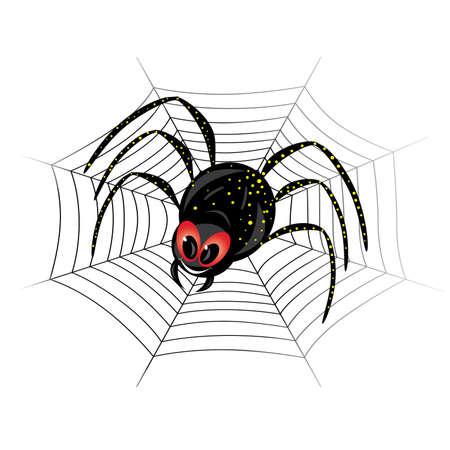 Ilustración de Linda black widow Spider en web Ilustración de vector
