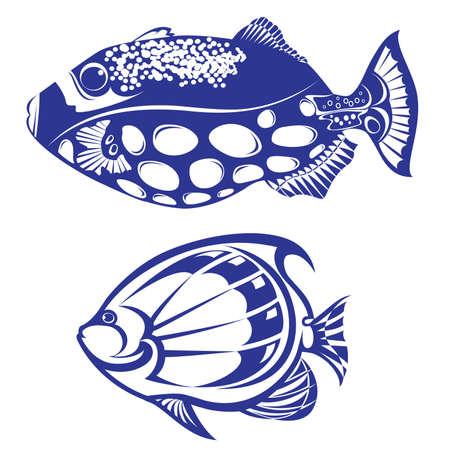peces de agua salada: Peces tropicales. Vectores