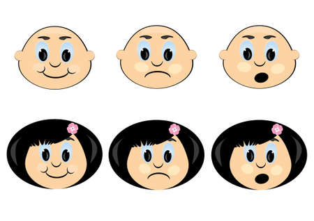 Icon with a Childrens emotions. Illustration on white Vector