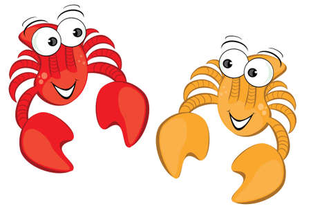 Two funny cartoon crab. Illustration isolated on white background