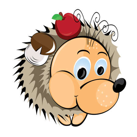 Hedgehog with apple and mushroom. Illustration on white background Vector