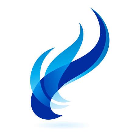 Cornici di fuoco blu ornato isolate su uno sfondo bianco.