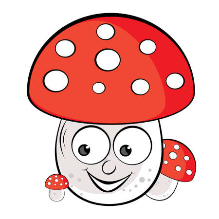 Acrylic illustration of Toadstool. Illustration on white background