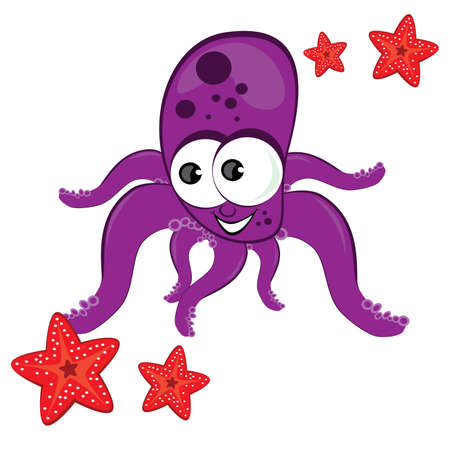 Cartoon illustration of octopus with starfish Isolated on white  Vector