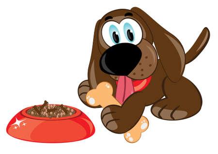 kumpel: Abbildung cartoons Hund mit einem Knochen und Sch�ssel
