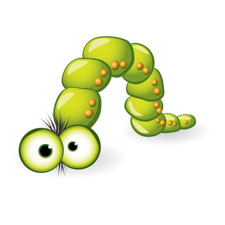 worm: Car�cter de larva. Ilustraci�n sobre fondo blanco para el dise�o