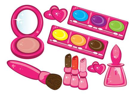 make up brush: Cosm�ticos y productos de belleza ilustraci�n de cosm�ticos y otras cosas de ba�o.