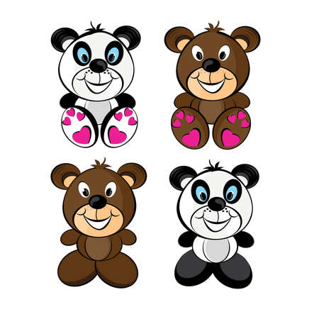 Teddy bears set. Illustration isolated on white background Vector